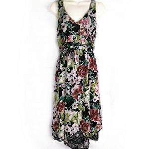 Cabi Floral Hawaiian Print Sun Dress Sz S Black